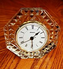 STAIGER FRENCH CRYSTAL W GERMANY QUARTZ OCTAGON CLOCK  XC