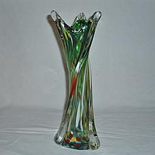 1960s HD BLOWN MURANO RAINBOW RIB SWIRL GLASS VASE XC