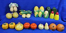 SALT PEPPER SHAKER LOT FRUITS VEGGIES 12 SETS 2 SGL XK