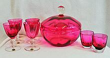 FINE 60s W GERMAN BLOWN CRANBERRY JAR CORDIALS SHOTS XJ