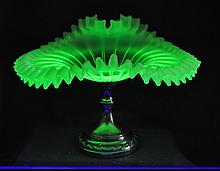 BOHEMIAN OPALESCENT VASELINE BLOWN GLASS JIP COMPOTE XW