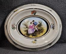 FRENCH 1900 HP PORCELAIN LADY'S OVAL COURTING TRAY XJ