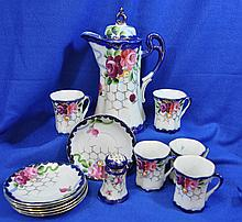 JAPANESE CHOCOLATE SET POT CUPS SAUCERS ROSES XK