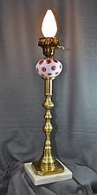 1950s FENTON QUOIZEL CRANBERRY COIN DOT BRASS LAMP XW