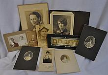 LOT 10 VINTAGE ANTIQUE CABINET & PORTRAIT PHOTOGRAPH XW
