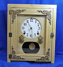 INGRAHAM 1950s ORNATE CUSTOM CABINET WALL CLOCK XT