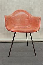 RARE HERMAN MILLER SALMON FIBERGLASS ARM SHELL CHAIR XT