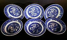 6 HOMER LAUGHLIN FLOW BLUE BERRY BOWLS XC