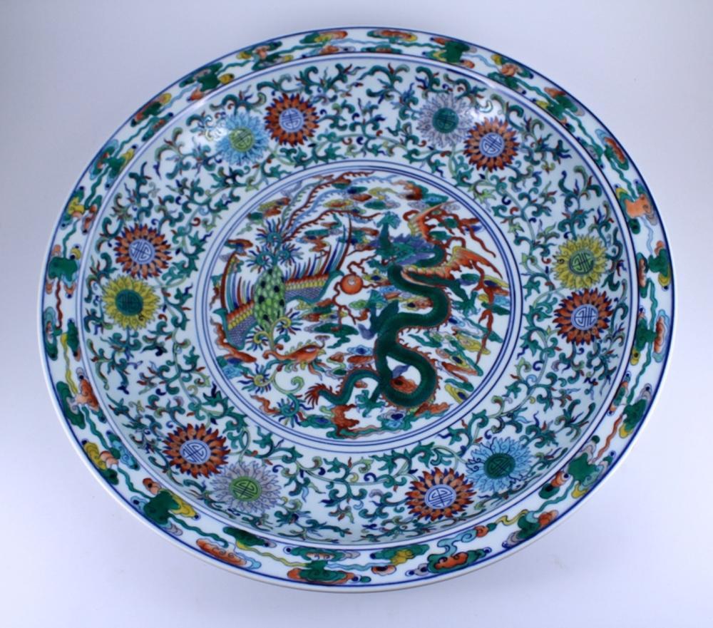 Large DouCai Dragon&Phoenix Porcelain Plate