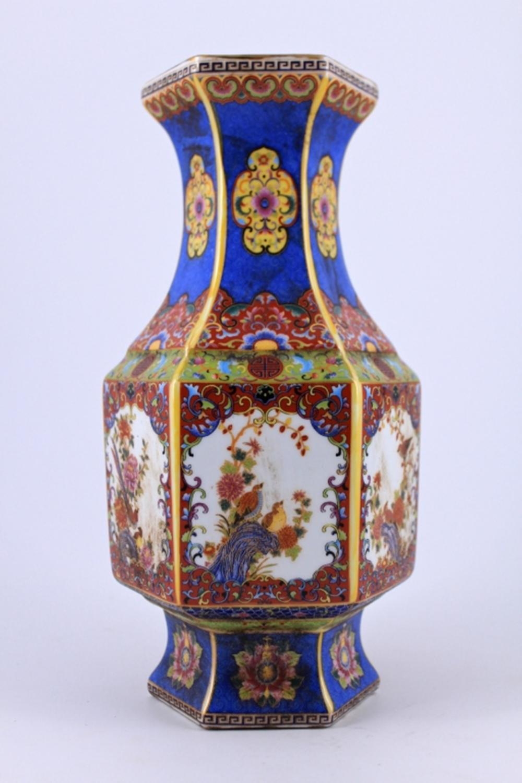 Famille Rose Floral Porcelain Vase Qing Mark