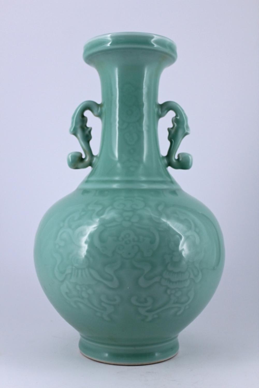 Large Light Blue Floral Porcelain Vase Qing Mark