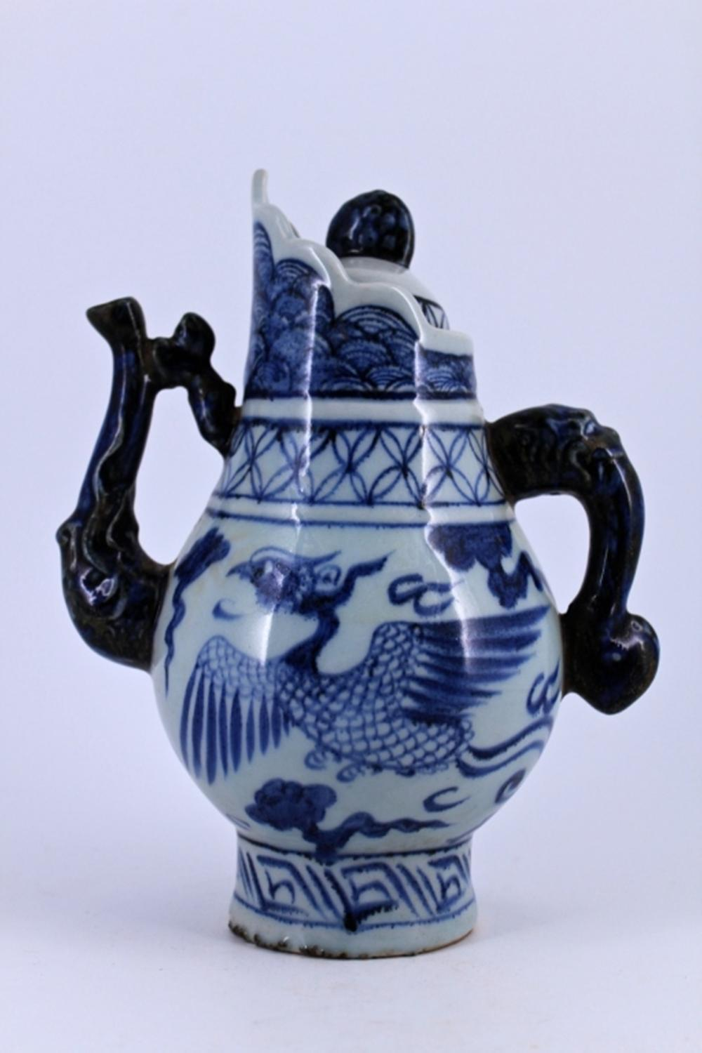 Blue&White Phoenix Pot with Lid Ming Period
