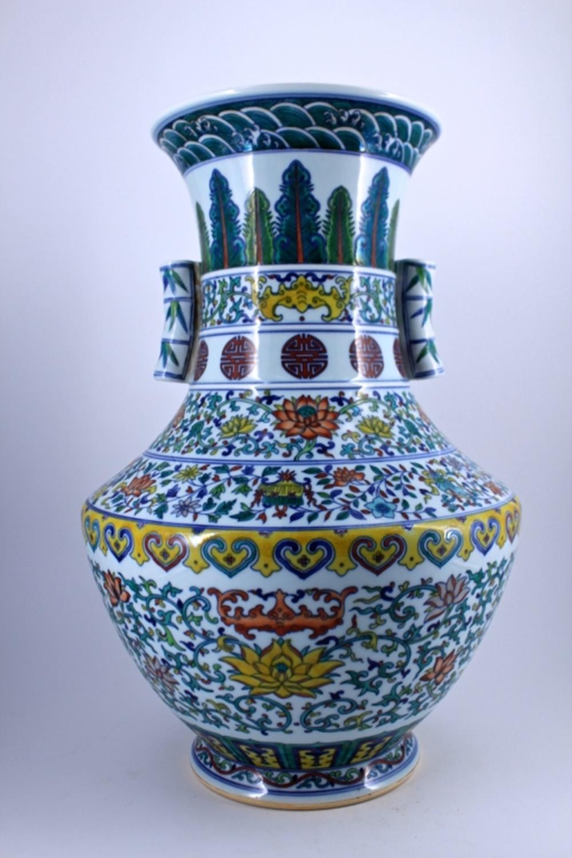 Large WuCai Floral Porcelain Vase Qing Mark