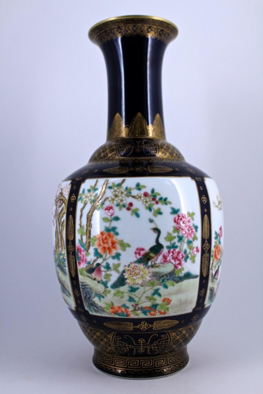 Large Famille Rose Porcelain Vase Qing Mark
