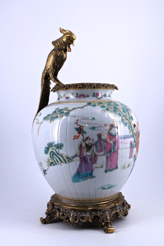 Famille Rose Porcelain Jar with Bronze Mount Qing