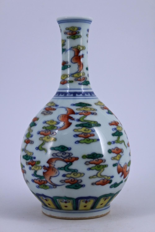 DouCai Bat Porcelain Vase Qing Period