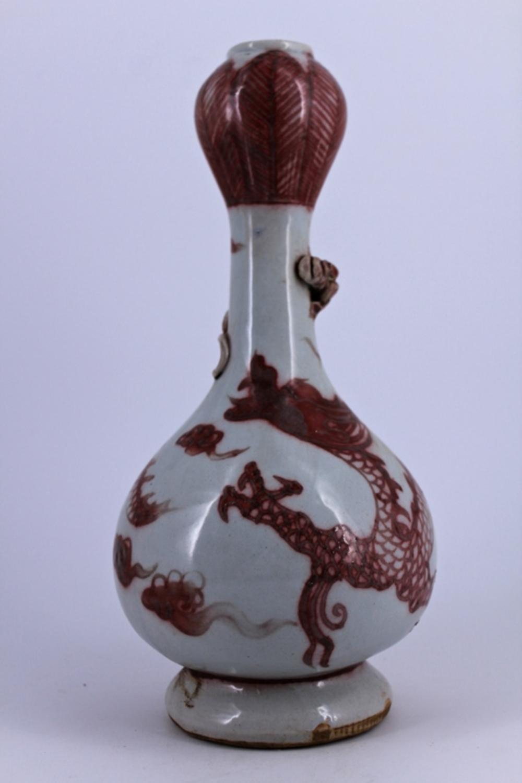 White Underred Dragon Porcelain Vase Ming Period