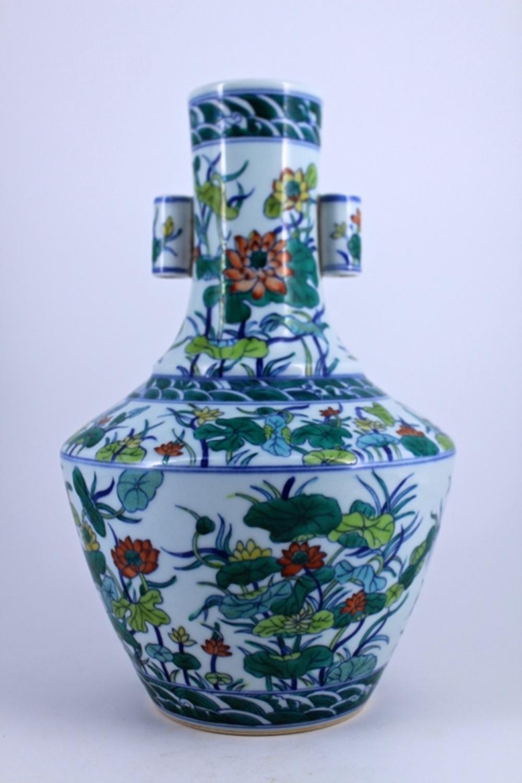 WuCai Floral Porcelain Vase Qing Mark