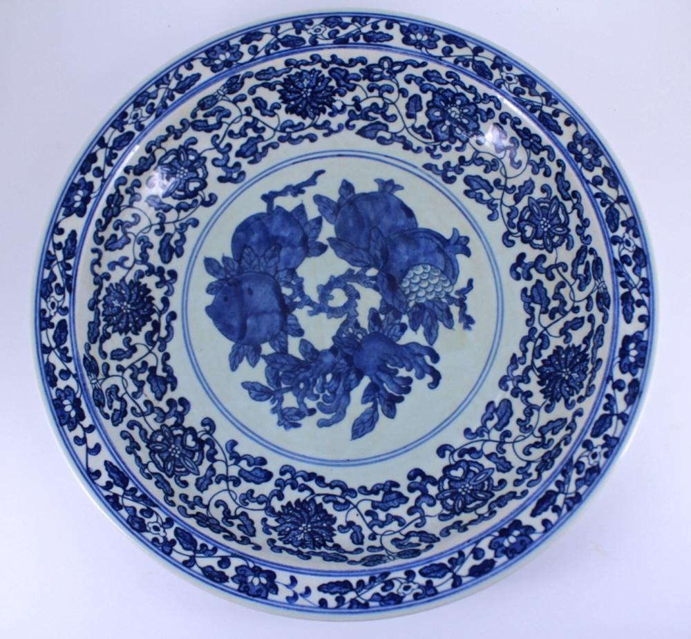 Large Blue&White Floral Plate Qing Mark