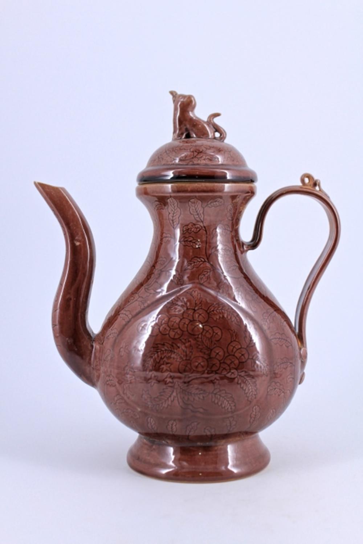 Red Floral Porcelain Teapot Ming Mark
