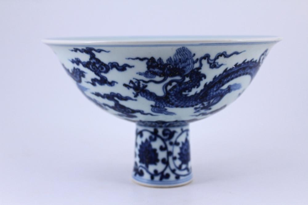 DouCai Dragon Porcelain Handle Cup Ming Mark