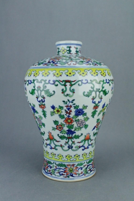 Qing DouCai Porcelain Vase YongZheng Mark