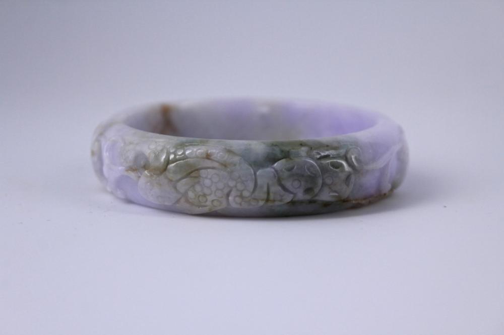 Hand Carved Violet Jade Bracelet
