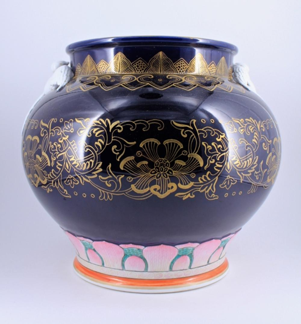 Large Famille Rose Swallow Urn with Gold Gilted Fl