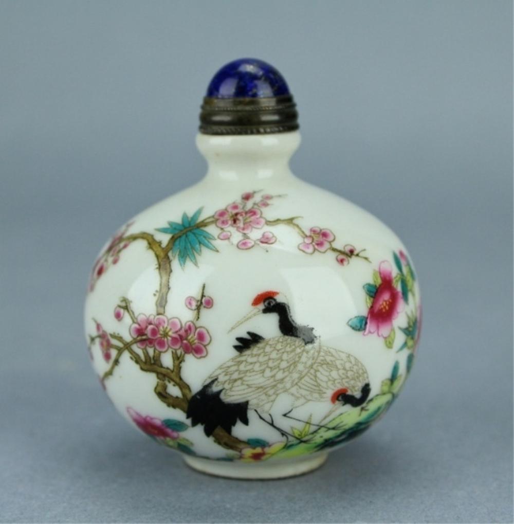 Qing Famille Rose Crane Snuff Bottle QianLong Peri