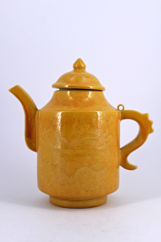 Yellow Dragon Porcelain Teapot Ming Mark
