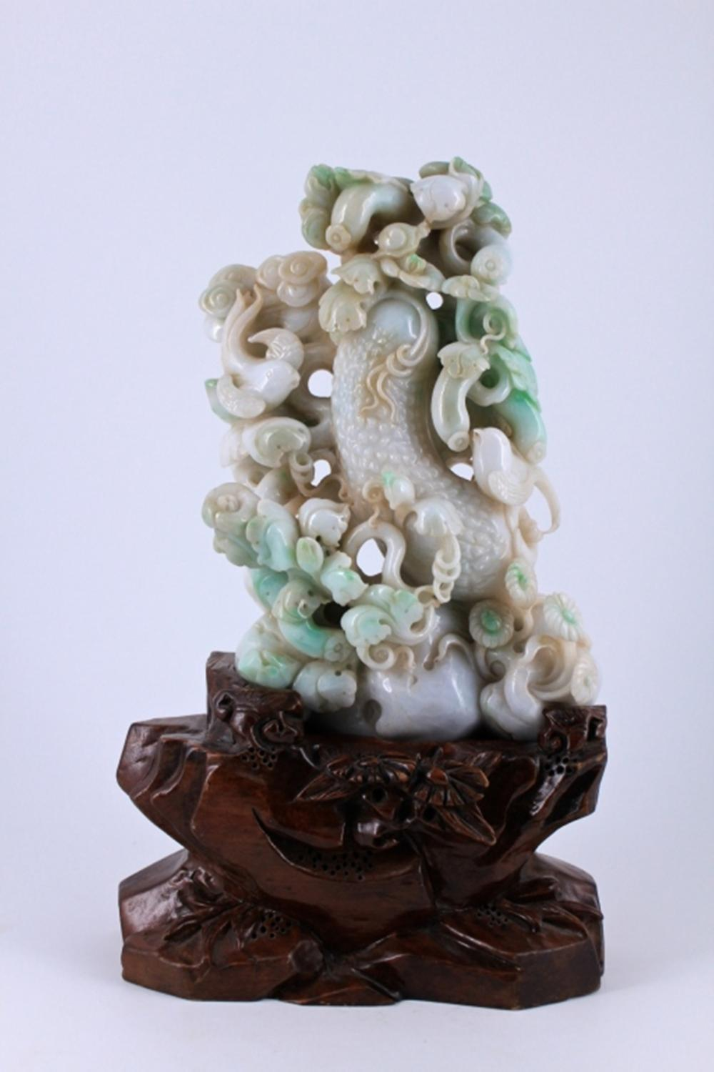 Large Hand Carved Floral Jade Figure Late Qing