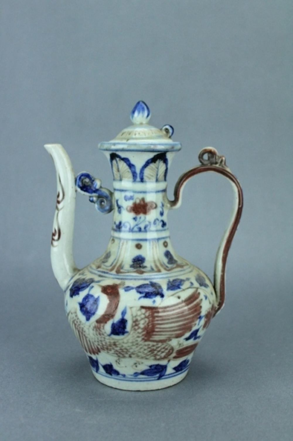 Ming Blue&White Red Phoenix TeaPot XuanDe Period