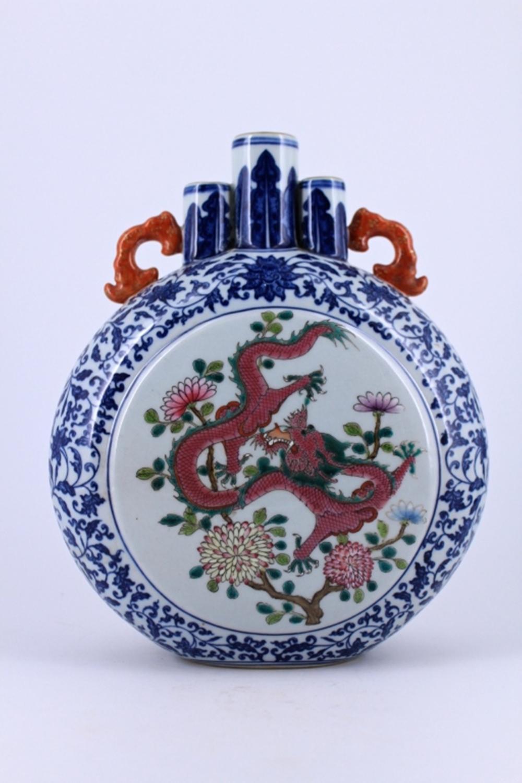 Blue&White Dragon Porcelain Moon Flask Qing Mark