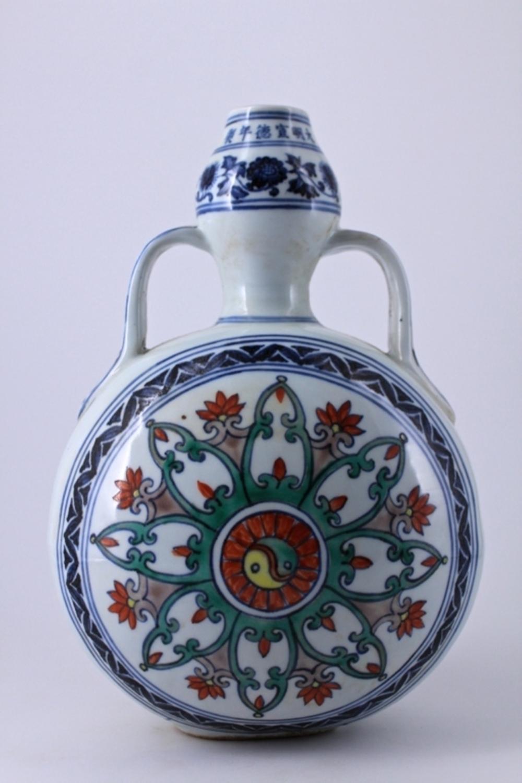 Ming Blue&White DouCai Porcelain Flask