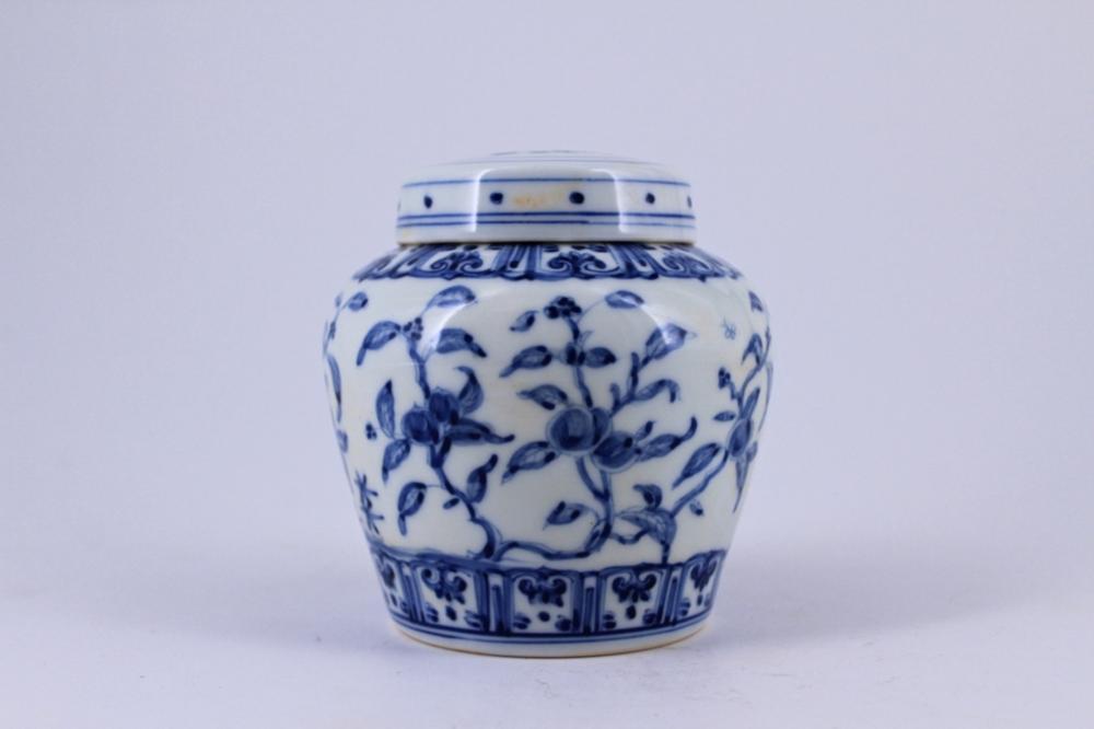 Blue&White Floral Porcelain Jar with Lid
