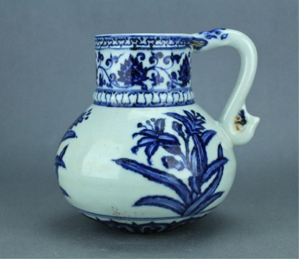 Ming Blue&White Flower Pot with Handle YongLe Mark