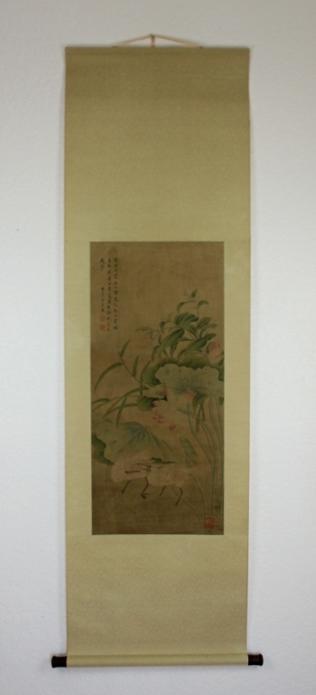 Scrolled Hand Painting signed by Yu Sheng