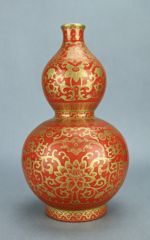 Qing Red Vase with Gold Gilted Floral QianLong Mar