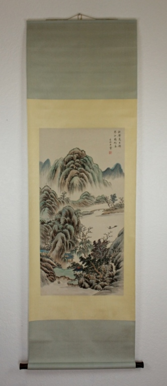 Scrolled Hand Painting signed by Wang Hui