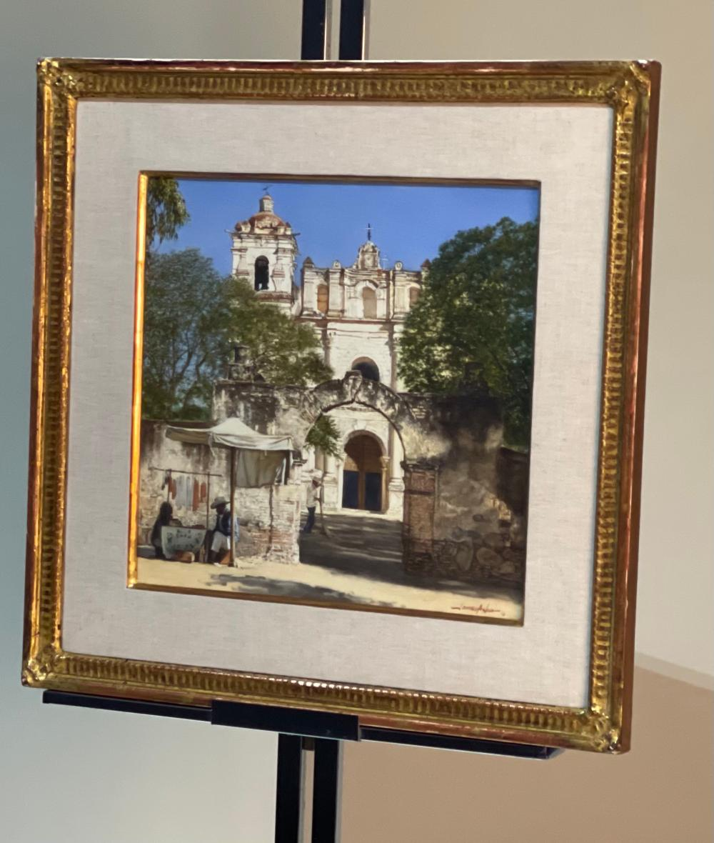 Original Art James Asher Candle seller at Santiago Apestol Painting