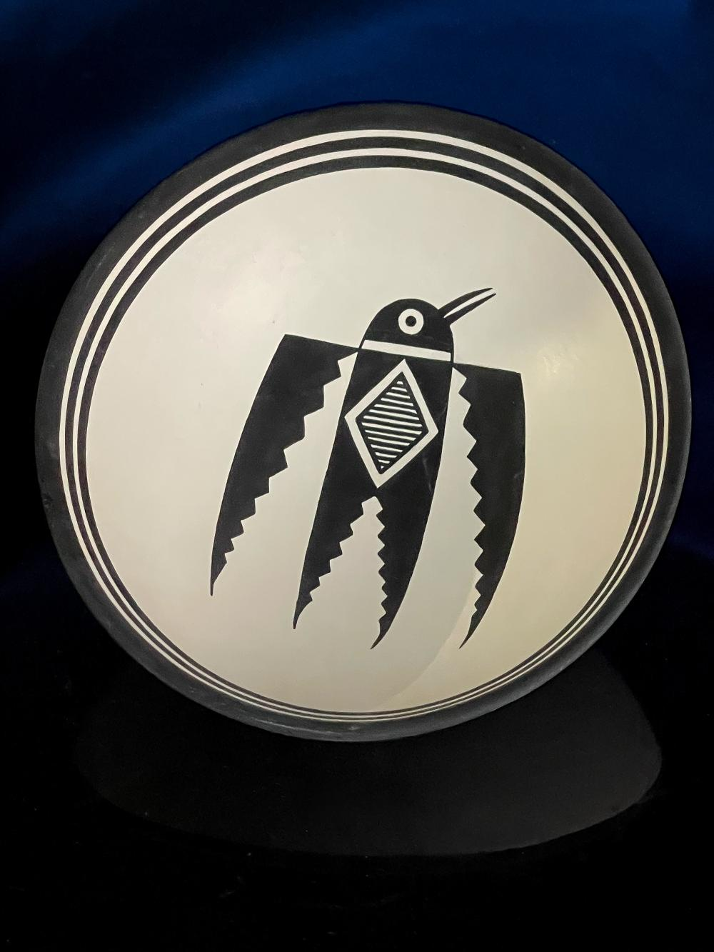 J. Lucero Quarrell Mimbres Pottery Acoma Pueblo Bird Bowl Native American Pottery