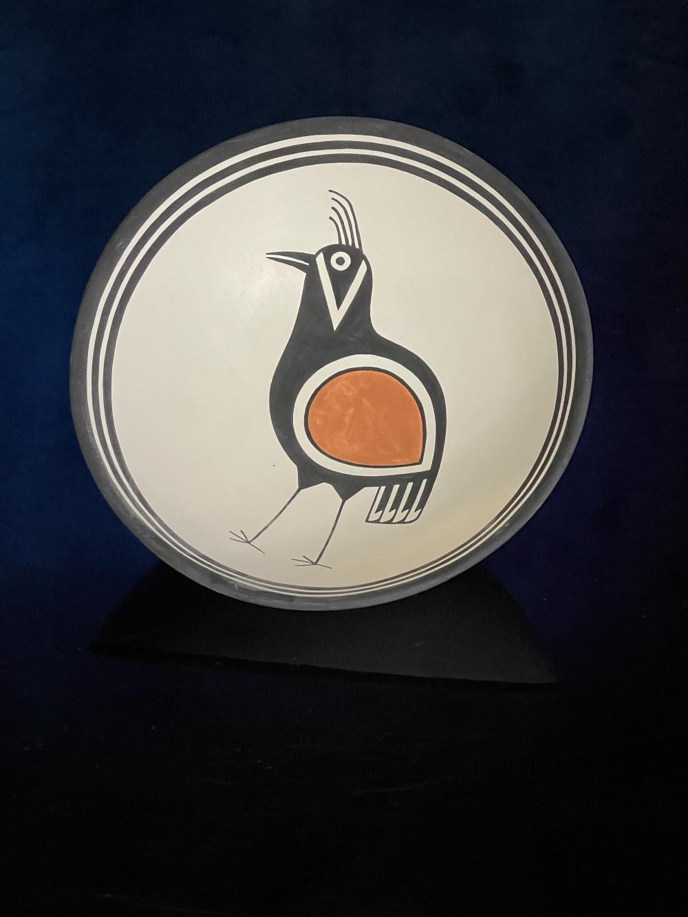 J. Lucero Quarrell Mimbres Quail Bowl Native American Pottery Acoma Pueblo