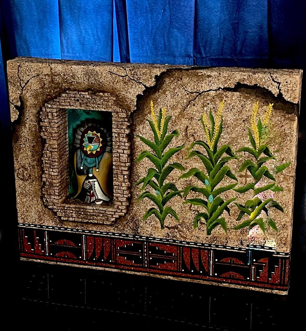 Hopi Gerry Quotskuyva AHOLA Germinator Original Art Mixed Media Kachina Native American