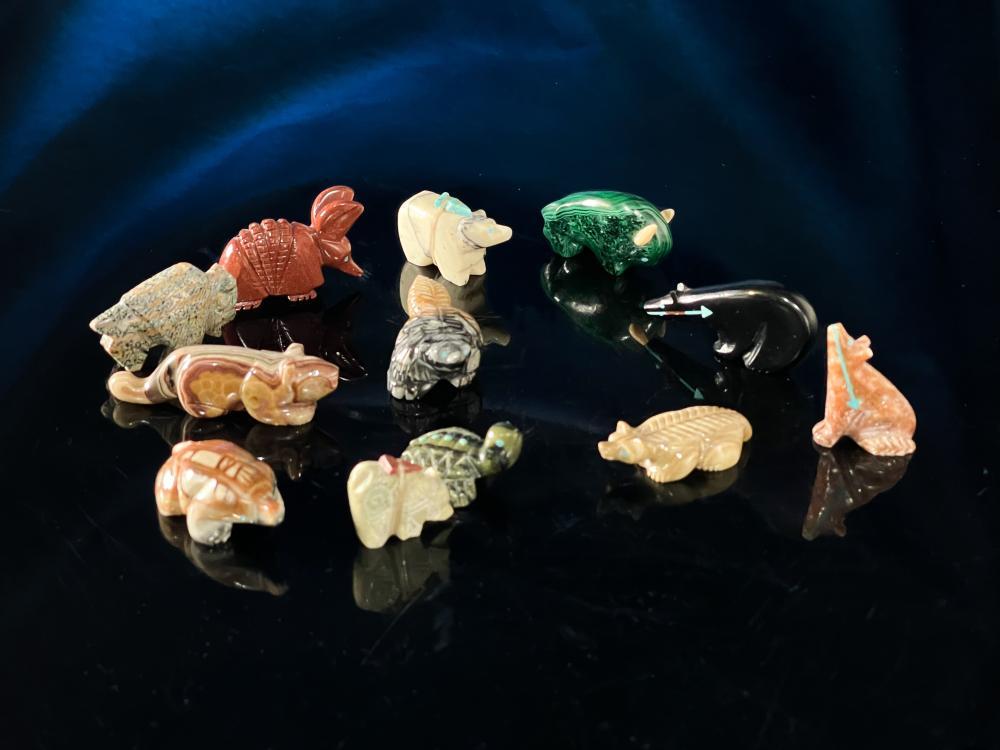 Lot of 12 Zuni Pueblo Animal Fetish Stone Carvings #1