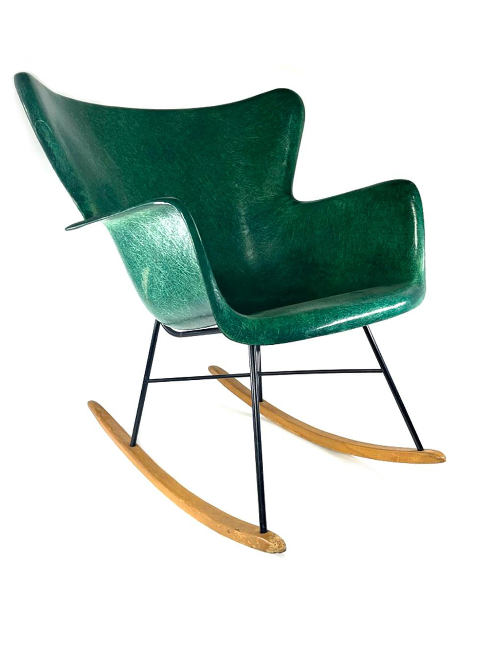 MCM Lawrence Peabody for Selig Molded Fiberglass Wingback Rocking Chair GREEN Shell Mid Century Modern