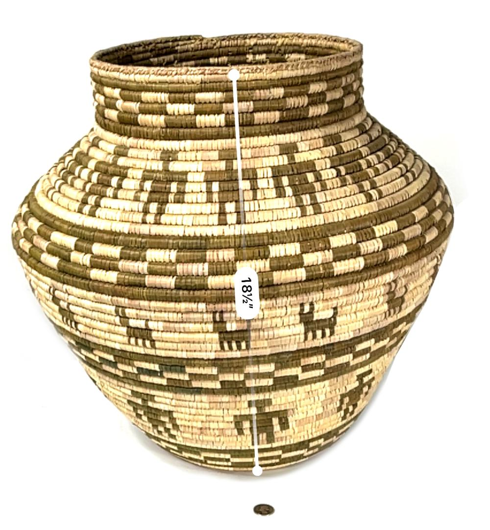 Huge Apache Figural Olla Coil Basket Native American People/Dog Pattern