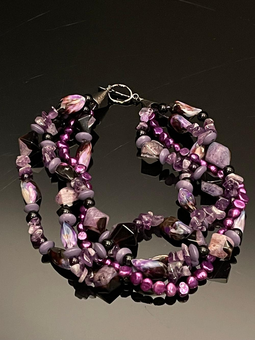 4 Strand Amethyst, Purple Pearls, and Onyx beaded Necklace