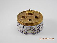 French Porcelain Ink Well W/ Brass Cover