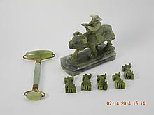 Lot of Jade Man On Water Buffalo/Chopstick Holders