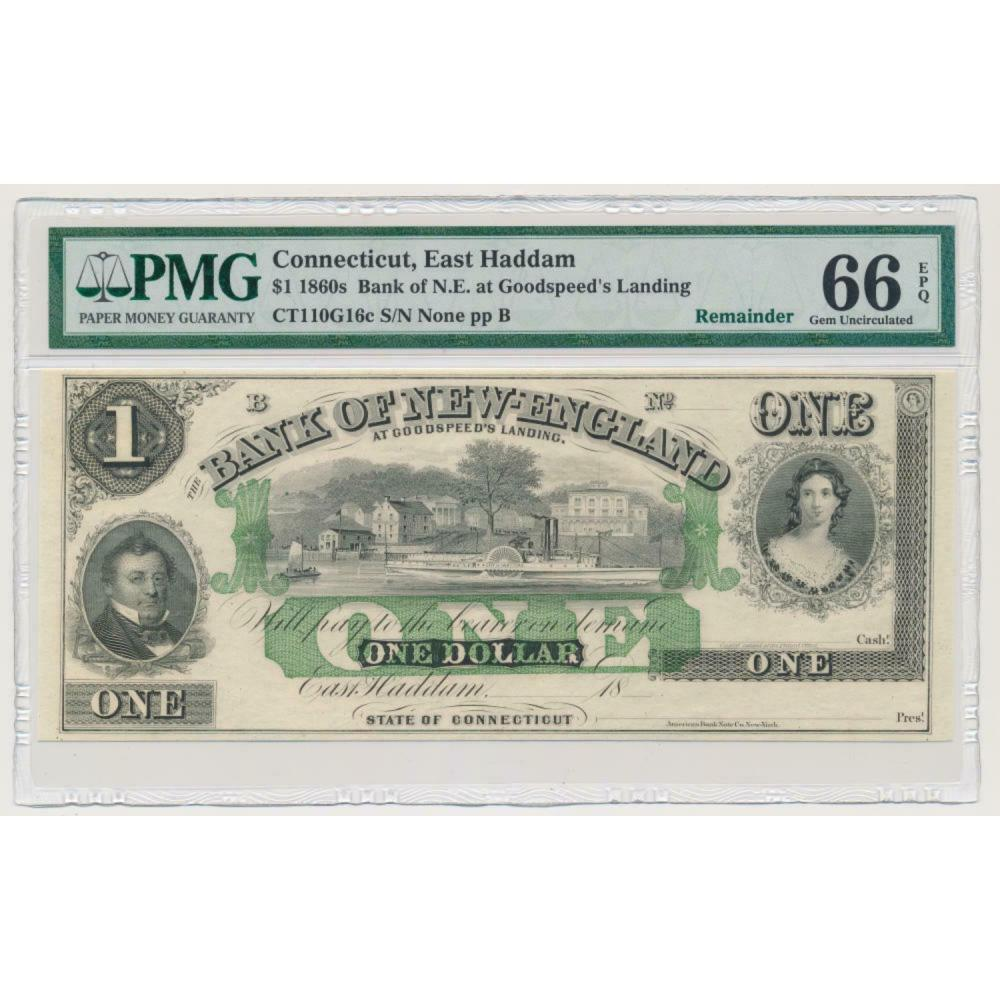 Connecticut, East Haddam Bank Note. PMG 66 Gem Unc. EPQ